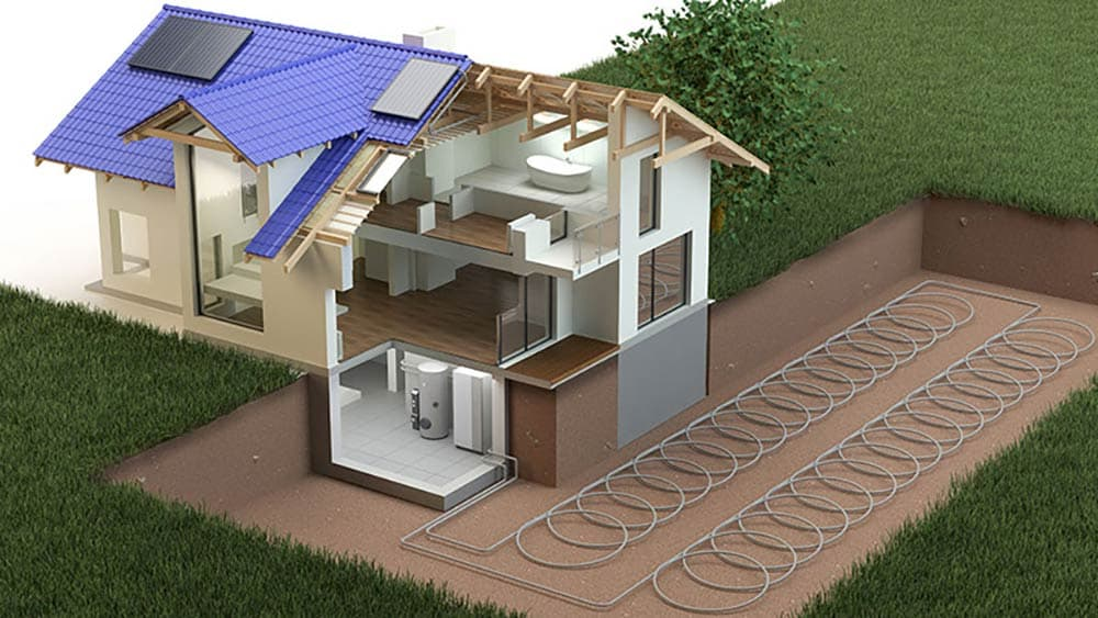 Slinky loops in geothermal heating systems.