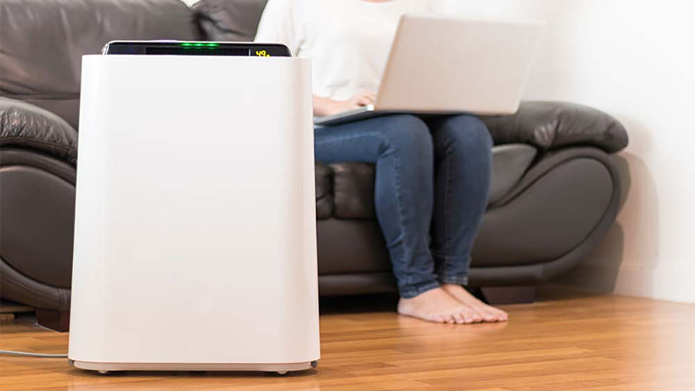 Smart air purifier helping to improve indoor air quality.