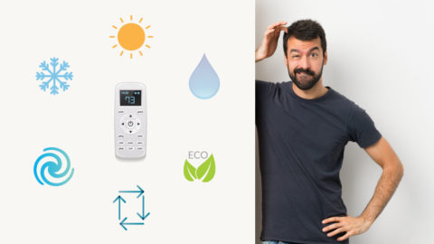 Air Conditioner remote control & AC Settings with confused man