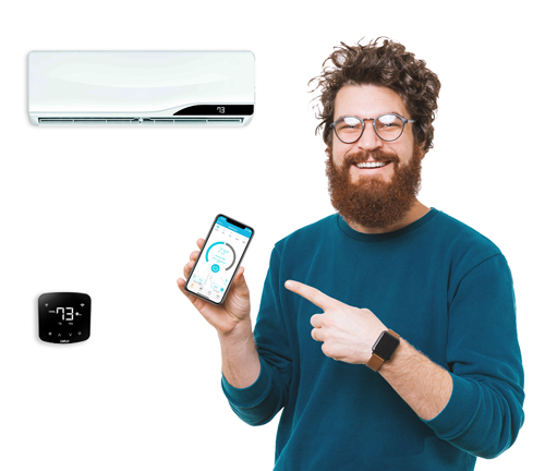 man pointing to cielo phone app, his smart ac remote