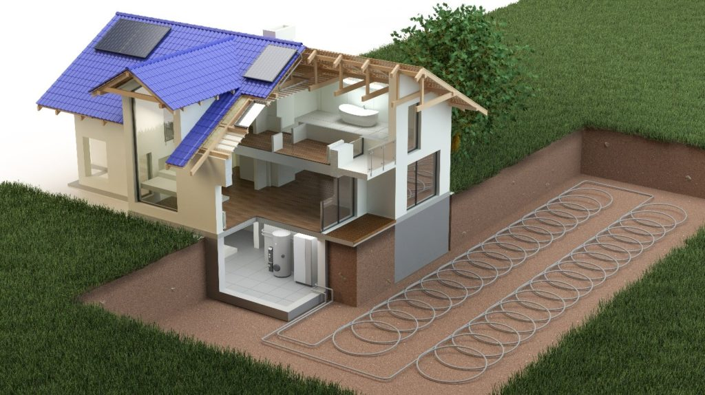 Geothermal HVAC Systems loops in ground. An advanced HVAC technology
