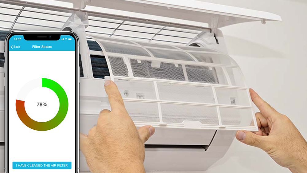 Complete guide about air conditioner filters. Cielo home app displaying ac filter status