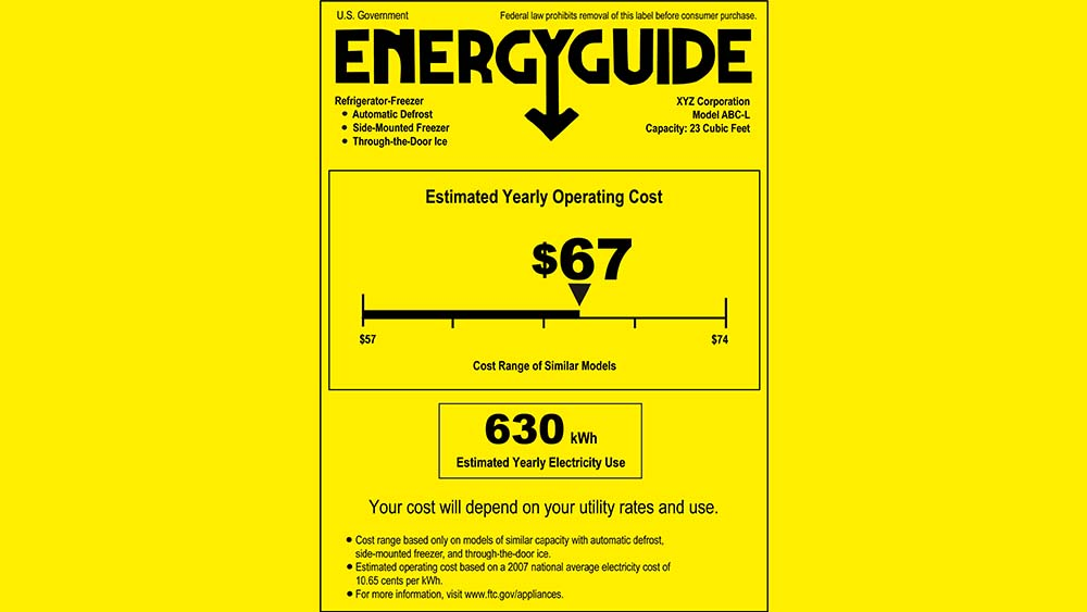 Energy Efficiency Ratio (EER) label found on the side of air conditioners.
