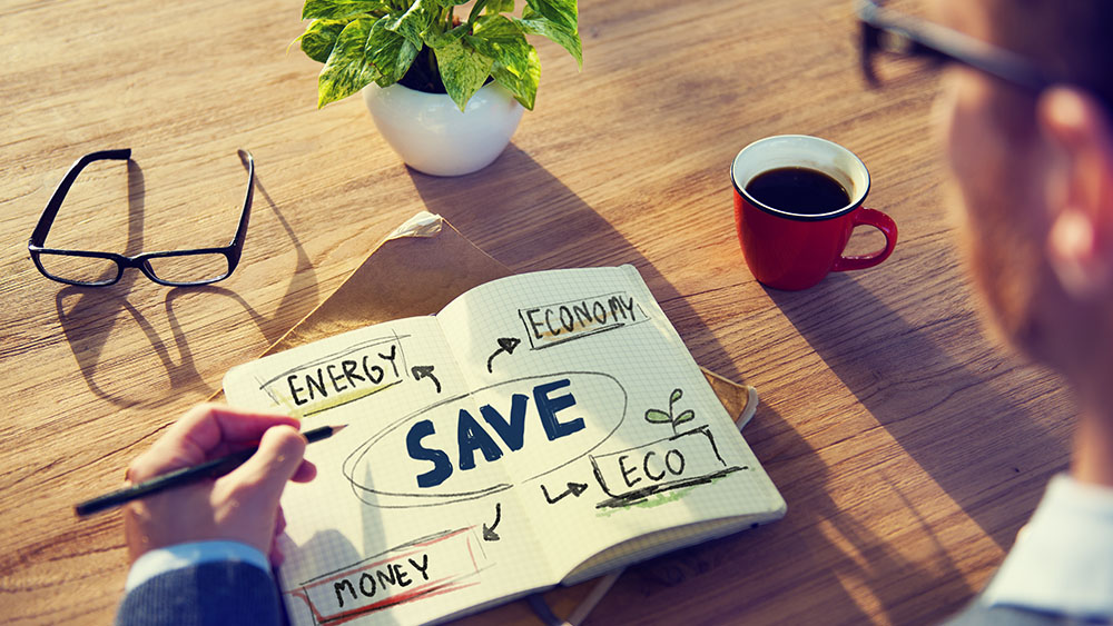 Energy saving tips for maximum efficiency in 2020, notebook saying save