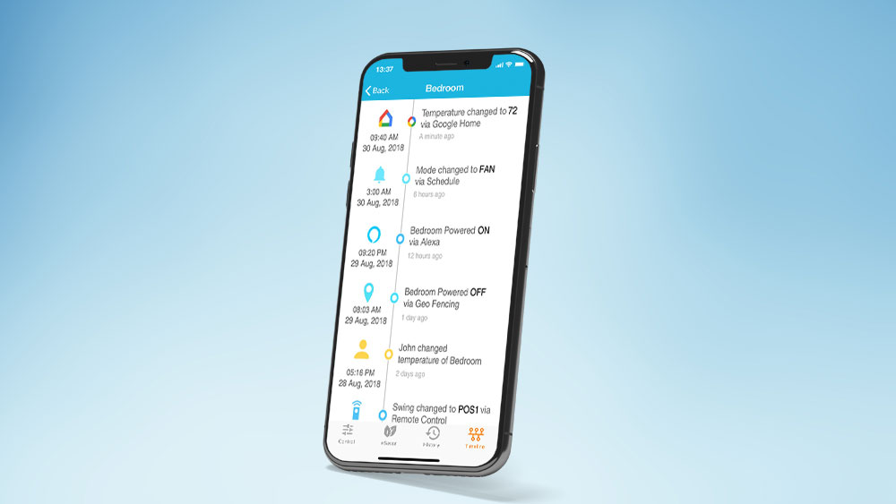 Monitor action timeline of your air conditioner when controlling air conditioner with phone