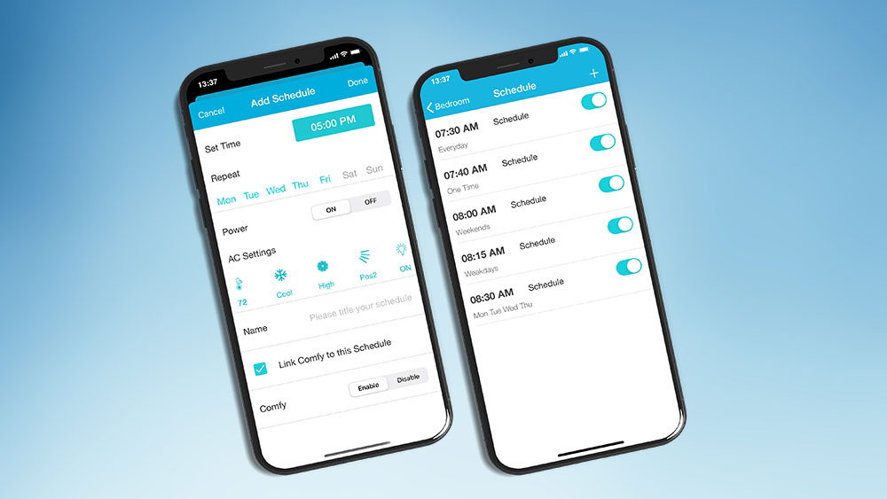 Set schedules on your air conditioner with phone. Control air conditioner with phone, how to control ac with android phone.