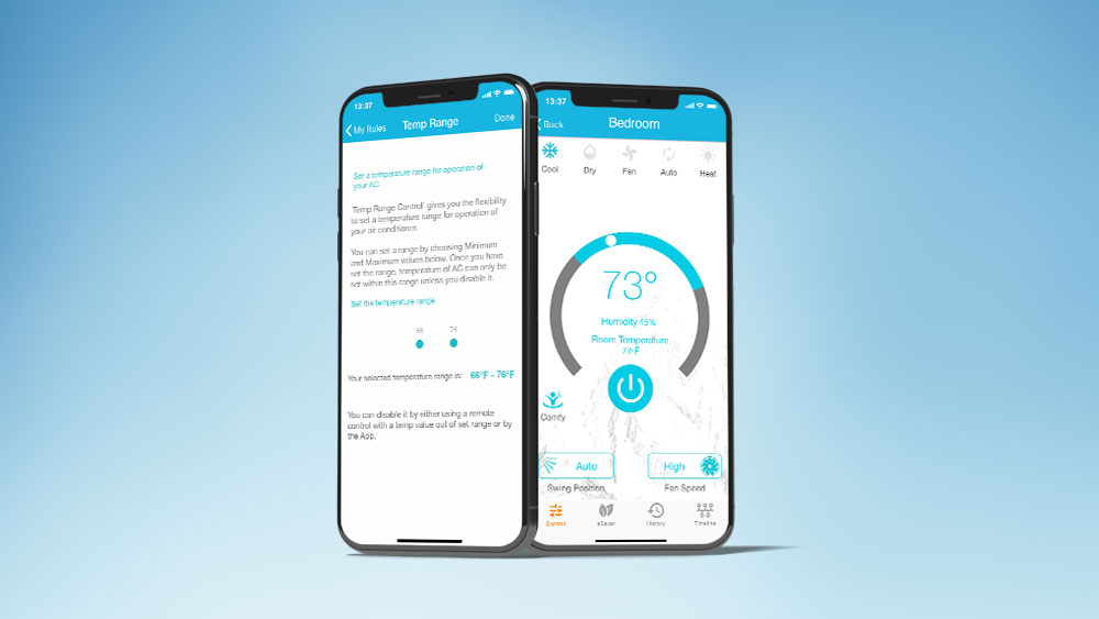 Temperature range control for home rentals. Control AC with phone.