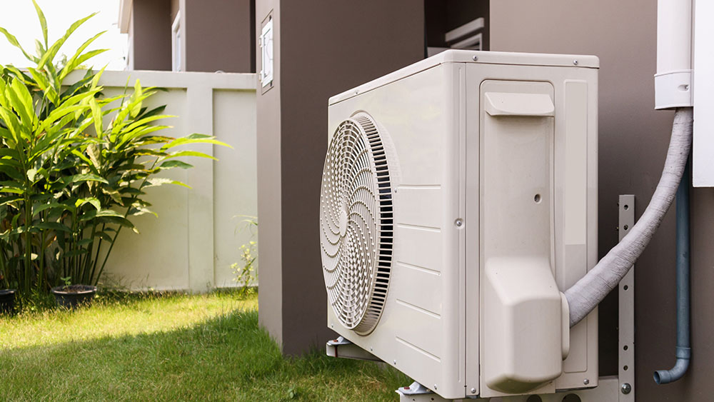 Water leakages in outdoor air conditioner unit.