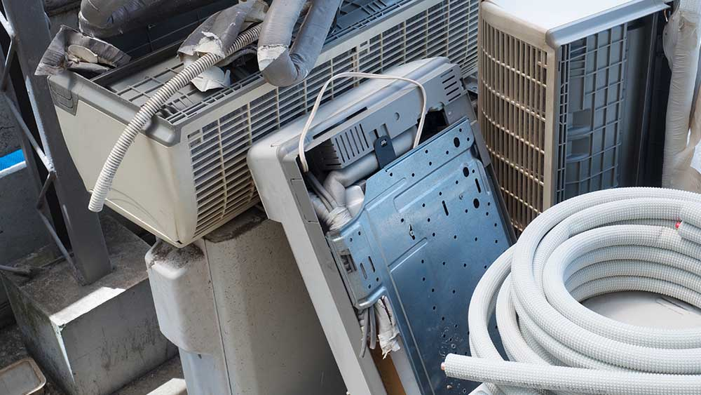 Correct way to dispose of an air conditioner.