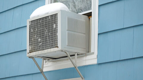 Storing air conditioner in winter.