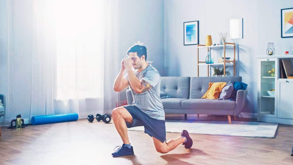 man exercising indoor in perfect thermostat setting