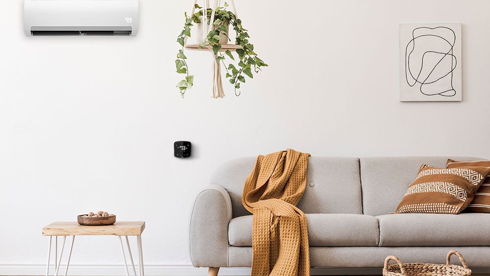 Smart AC controller installed in a comfortable living room