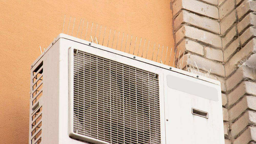 Bird spikes to keep birds away from air conditioner