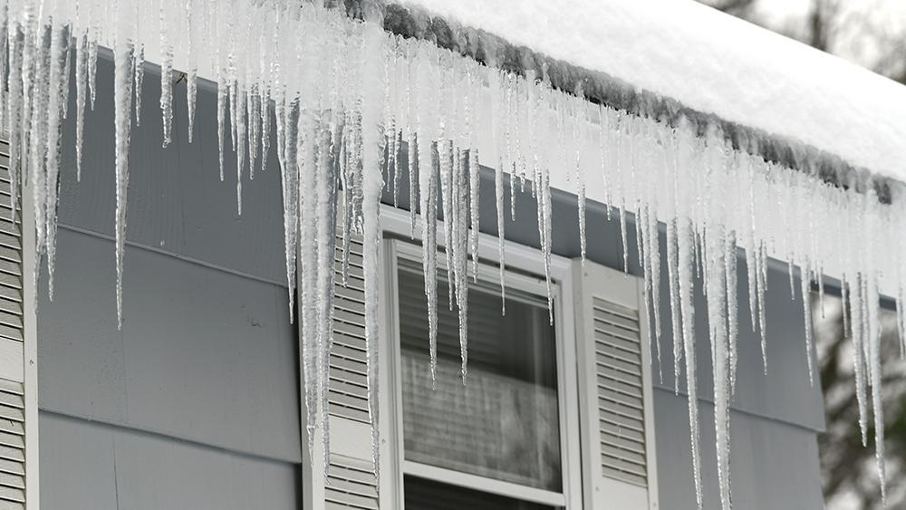 Ice dams on the roof. You can weatherize your home by taking measures to prevent ice dam formation