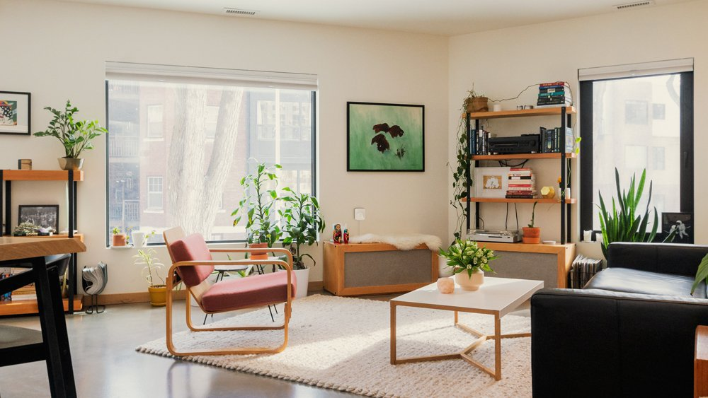 A nicely decorated living room with window insulation
