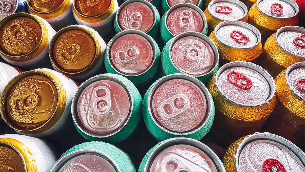 Condensation on soft drink cans