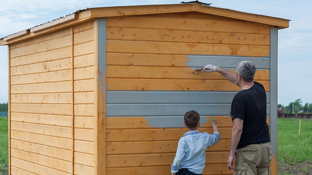 A man and a young boy painting a shed